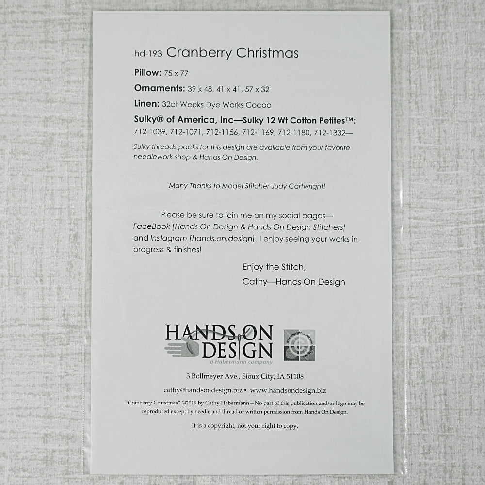 Cranberry Christmas Pattern for sale