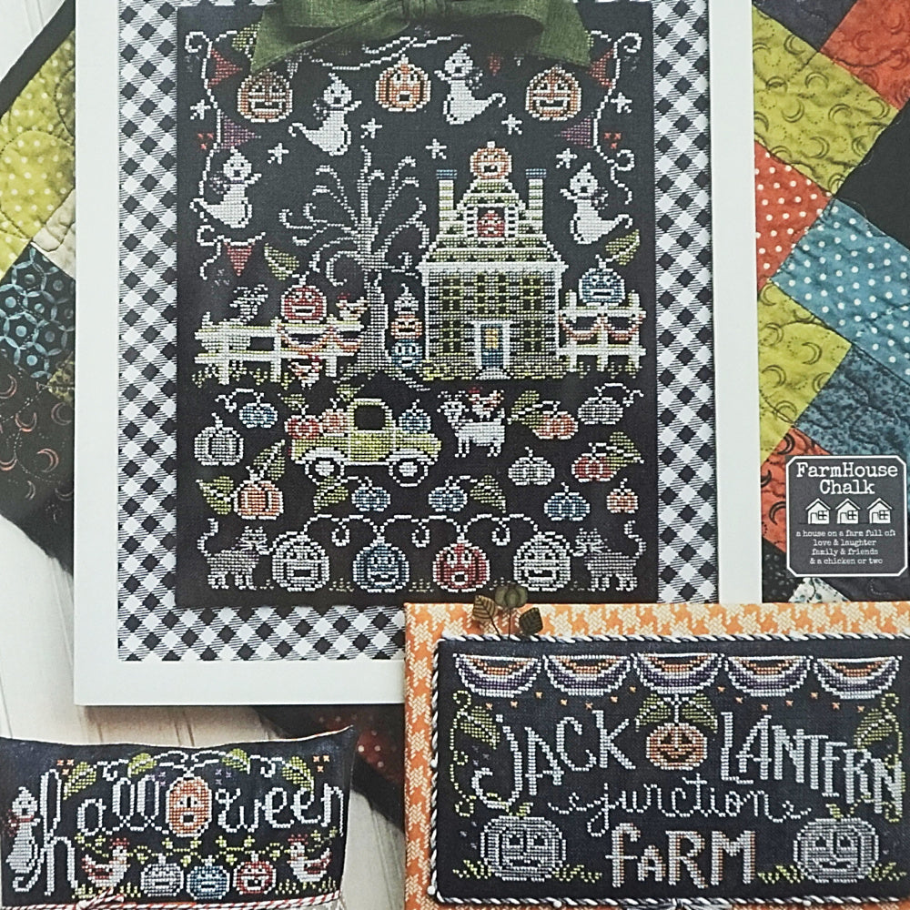 Jack o lantern farm counted cross stitch pattern