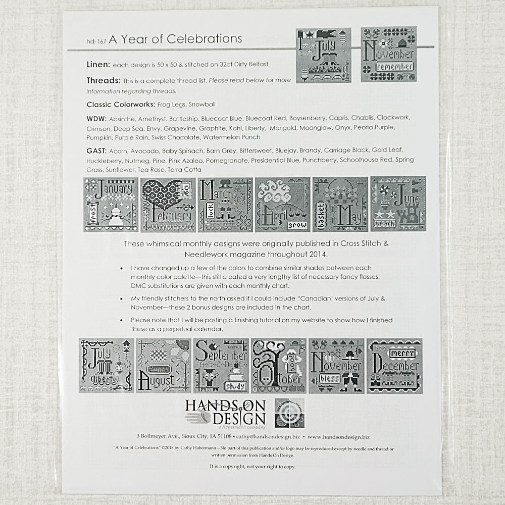 A Year of Celebrations patterns for sale