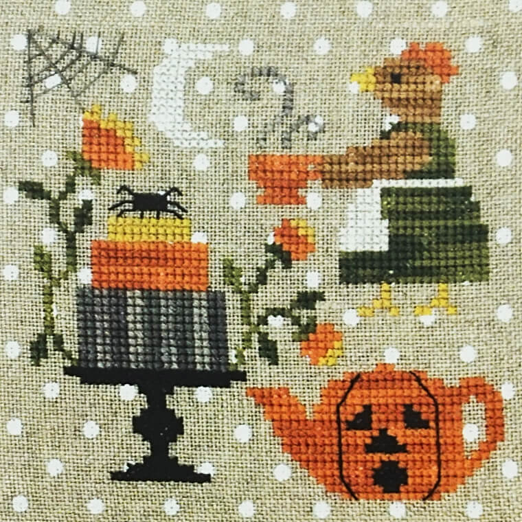 Hen Halloween Tea counted cross stitch pattern