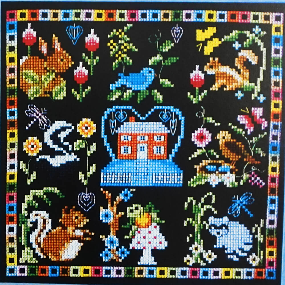 Home with Friends counted cross stitch pattern