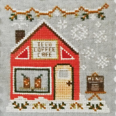 Iced Coffee Cafe counted cross stitch pattern