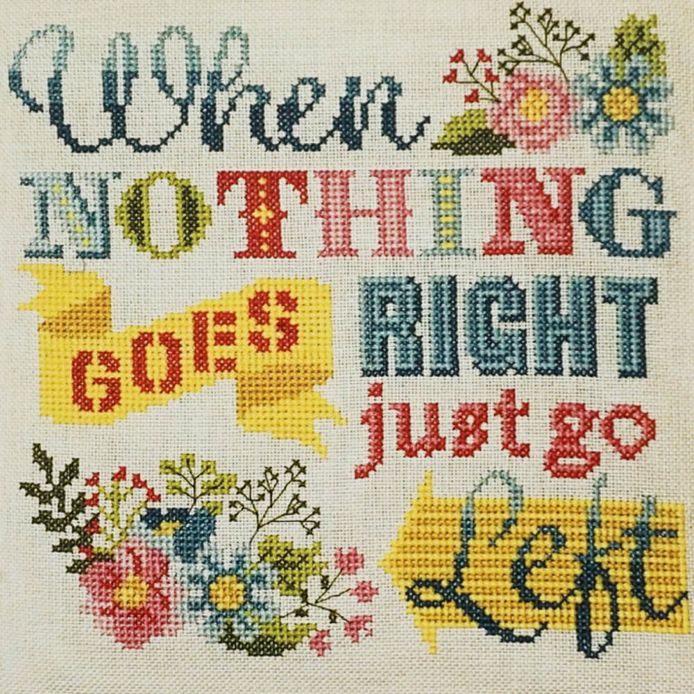 Just Go Left counted cross stitch pattern