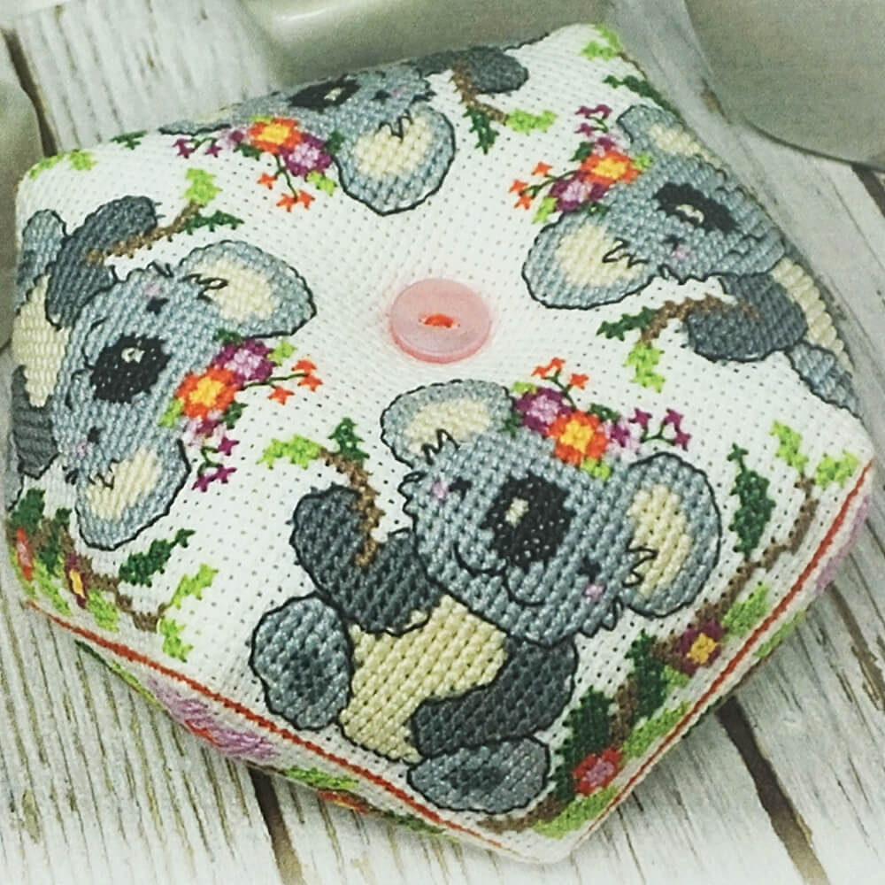 Koala Biscornu counted cross stitch pattern