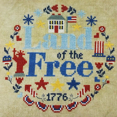 Land of the Free Wreath Cross Stitch Pattern | Tiny Modernist