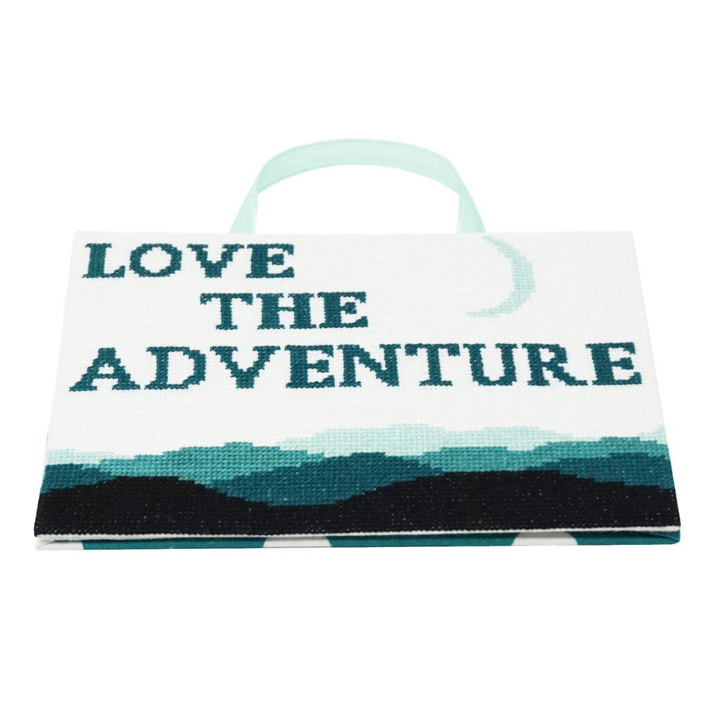 Model stitch of Love the Adventure cross stitch pattern