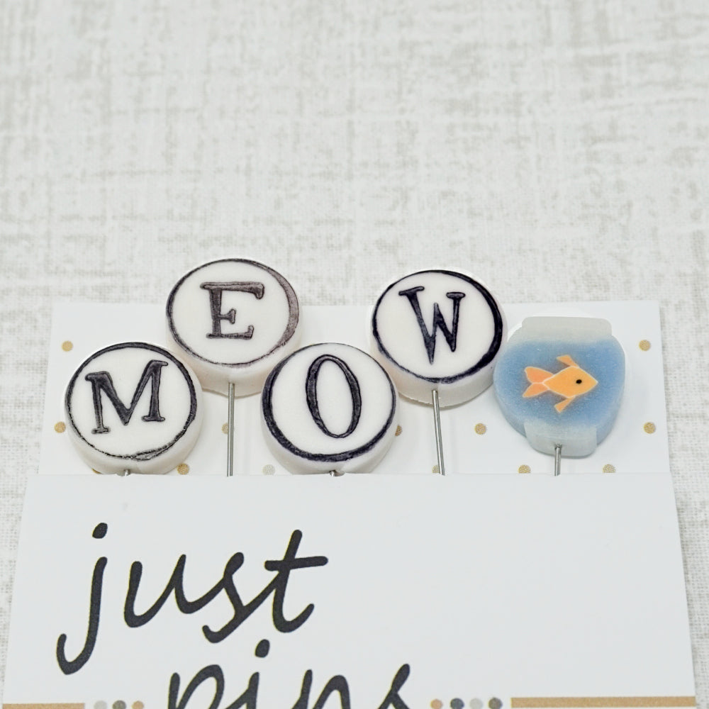 M is for Meow pin embellishments or counting pins