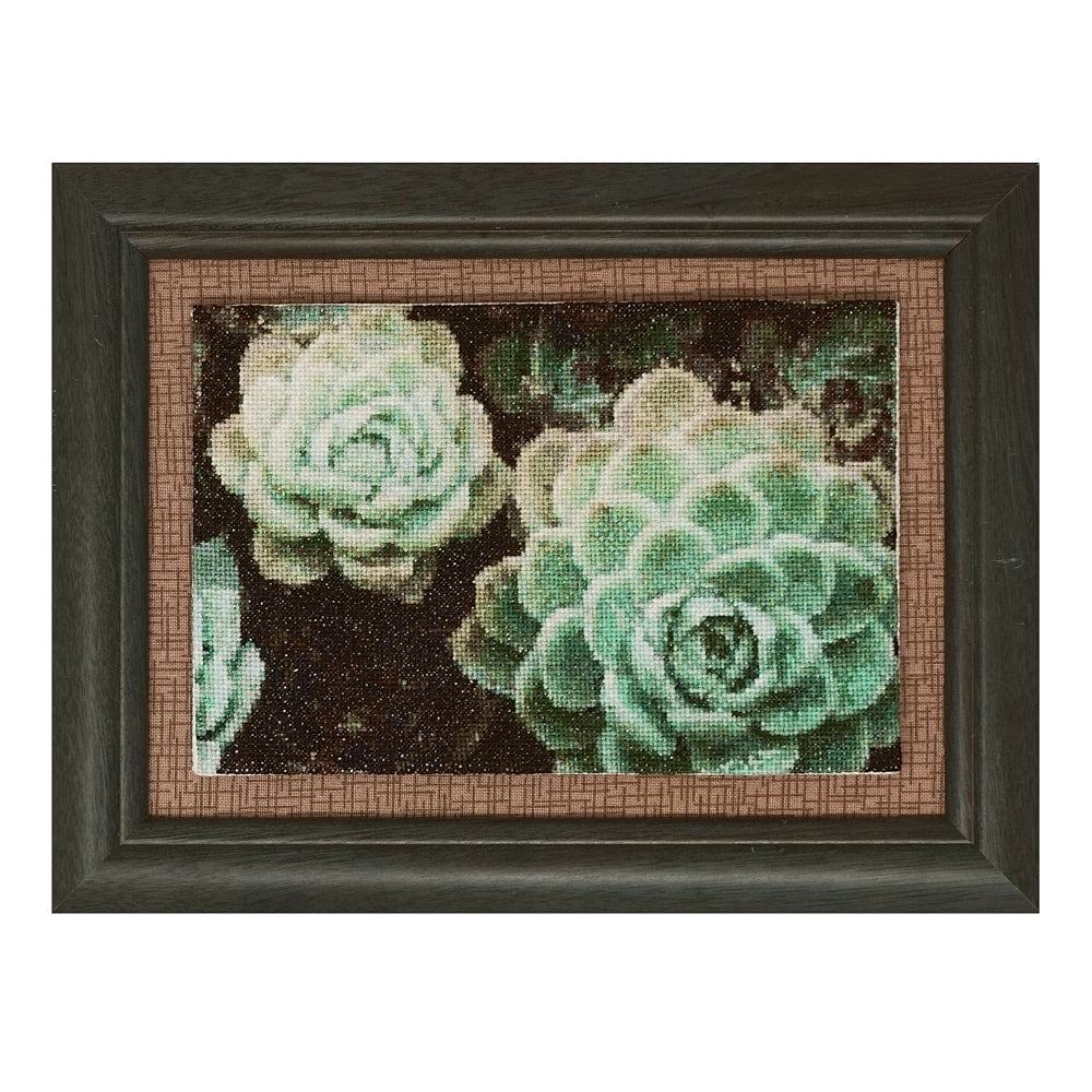 Mini succulents cross stitch pattern stitched model