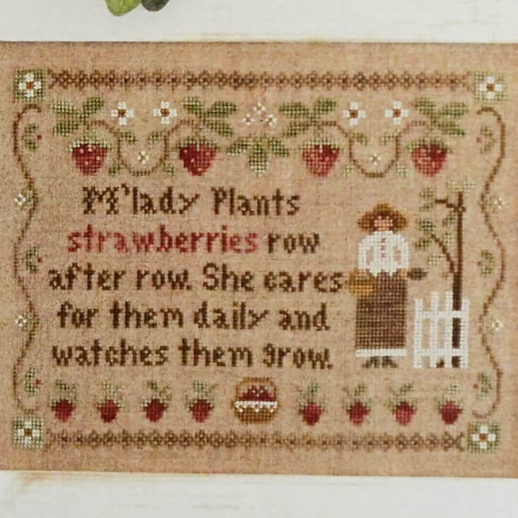 M'Lady's Strawberries counted cross stitch pattern