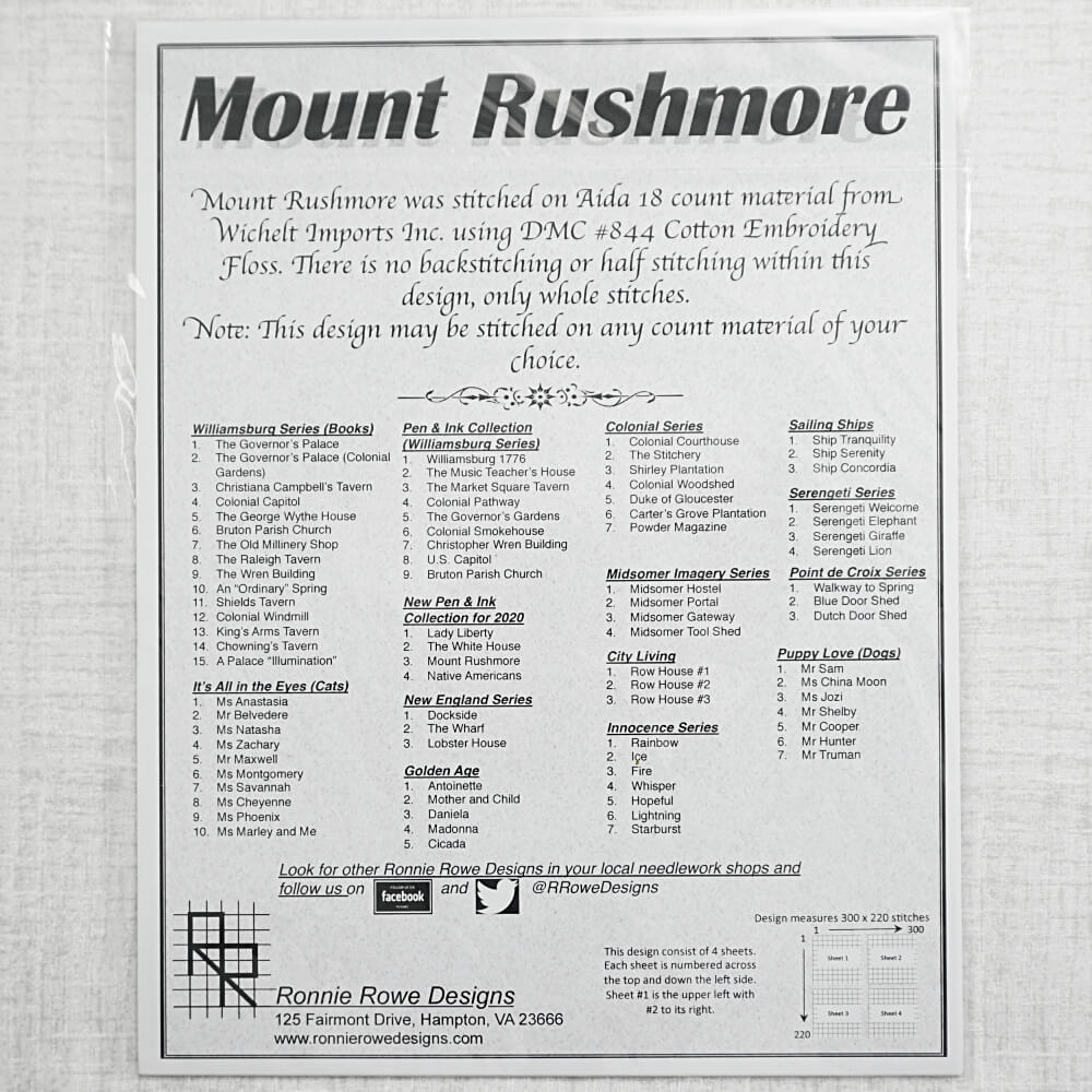 back of Mount Rushmore pattern for sale