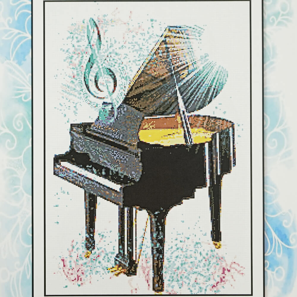 Piano counted cross stitch pattern