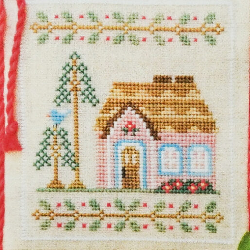 Pink Forest Cottage counted cross stitch pattern