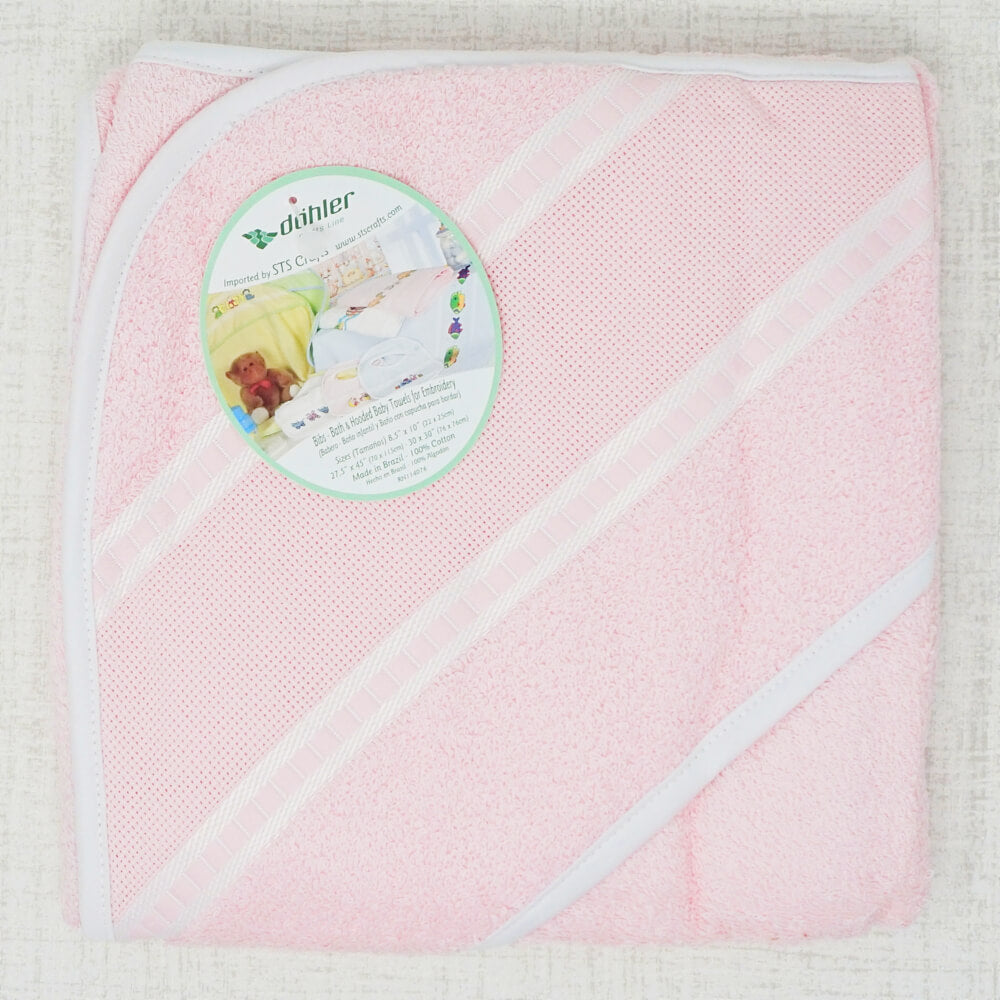 Pink Hooded Baby Towel with stitching section
