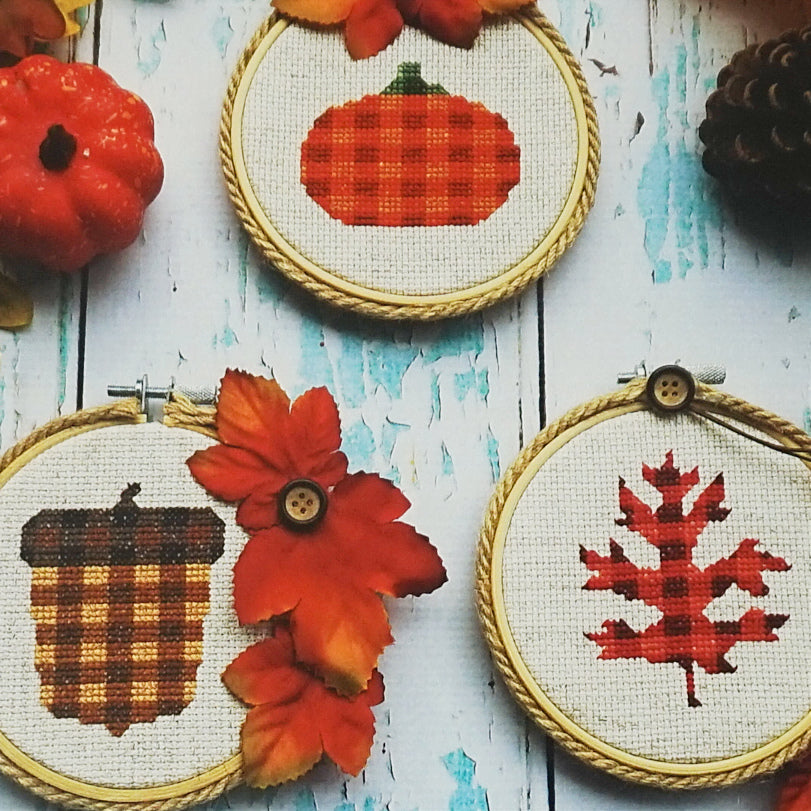 Plaid Autumn counted cross stitch patterns