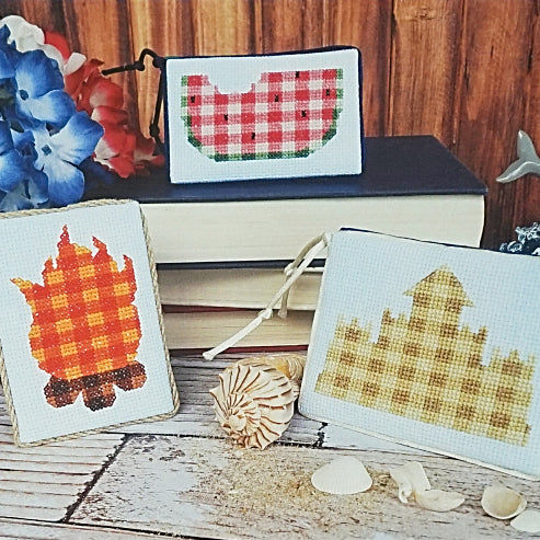 Plaid summer counted cross stitch patterns
