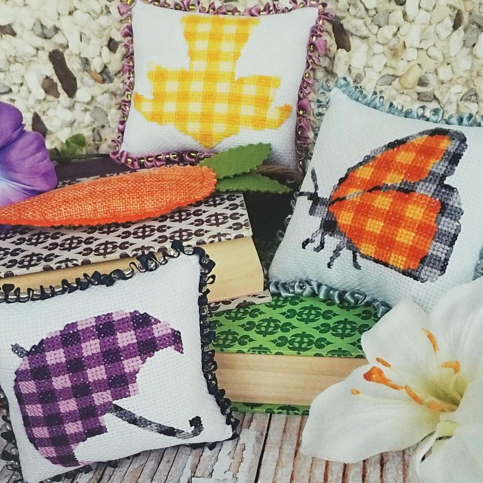 Plaid Spring counted cross stitch patterns