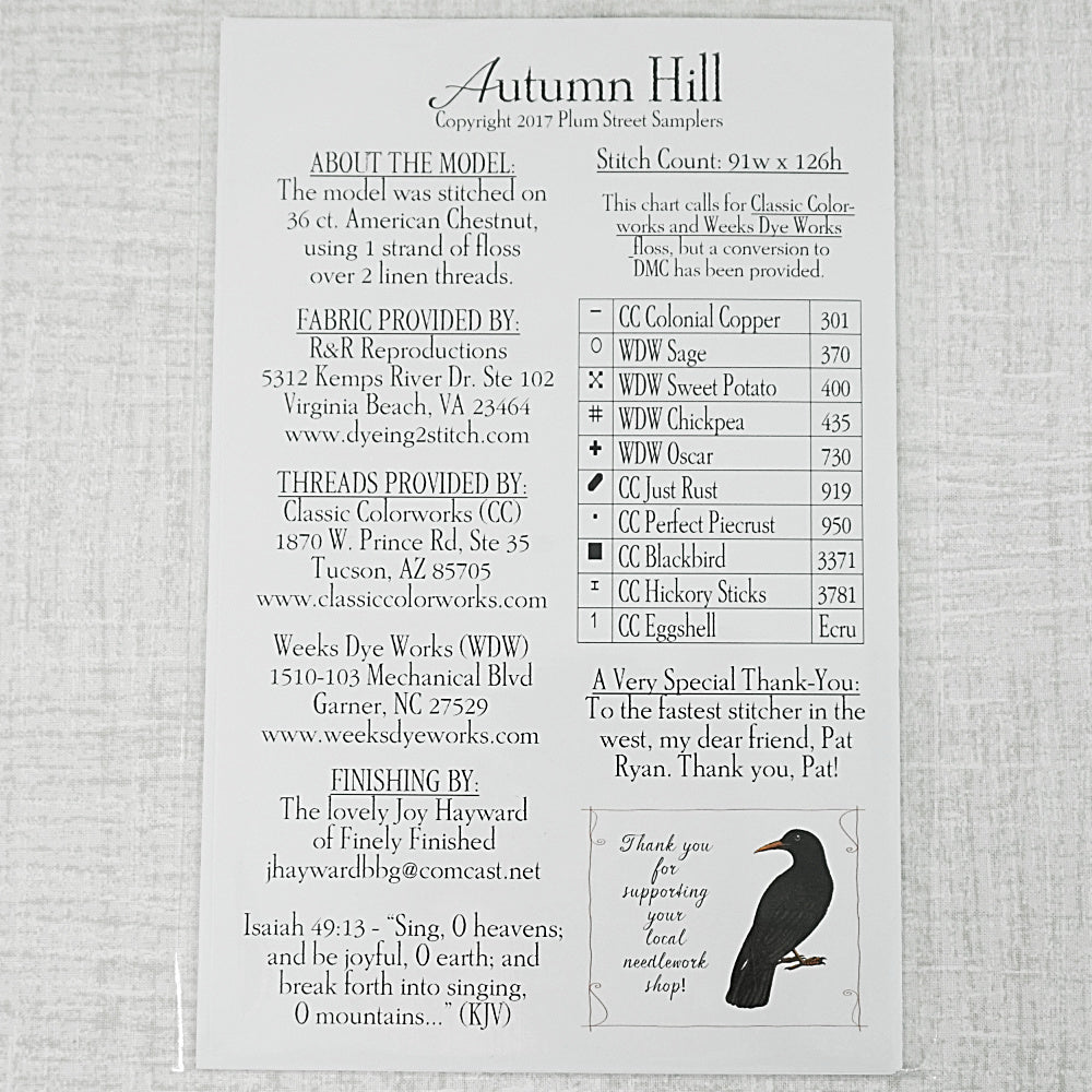Autumn Hill  pattern for sale