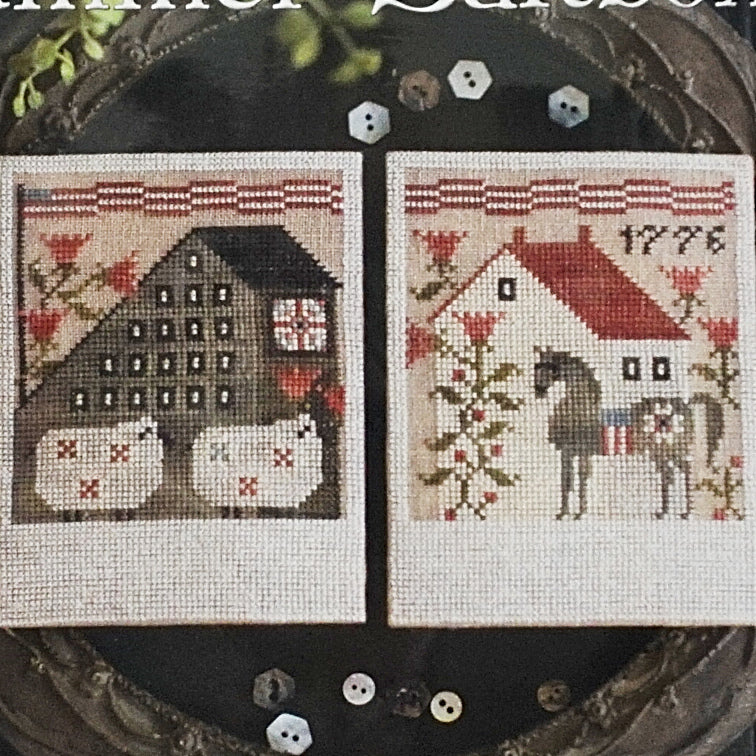 Autumn Saltboxes Plum Street Samplers Cross Stitch Pattern