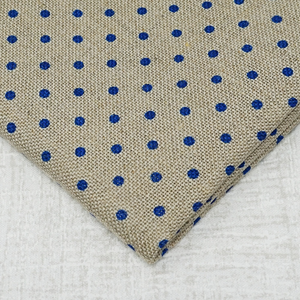Raw with navy dots 32 count belfast linen from zweigart