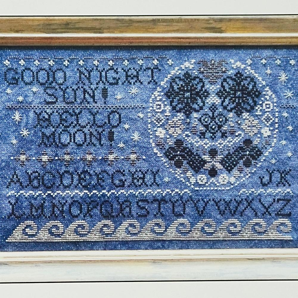 Hello Moon counted cross stitch chart