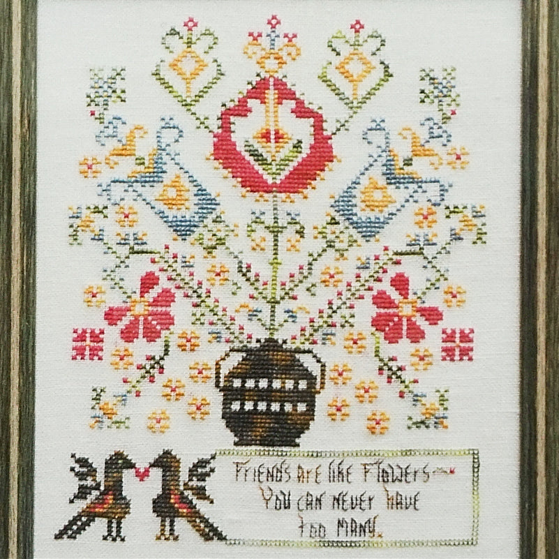 Friends are like Flowers counted cross stitch chart