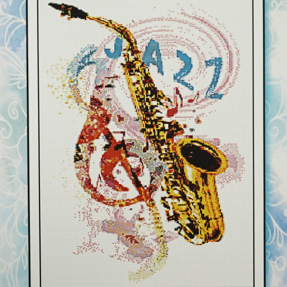 Saxophone counted cross stitch pattern