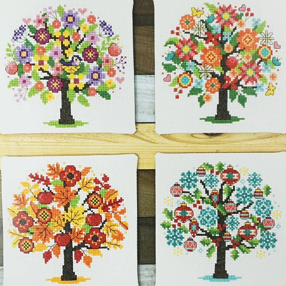 Seasonal Trees counted cross stitch pattern