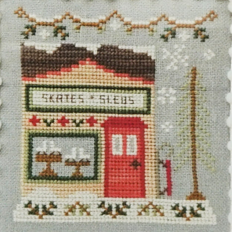 Skate and Sled Shop counted cross stitch pattern