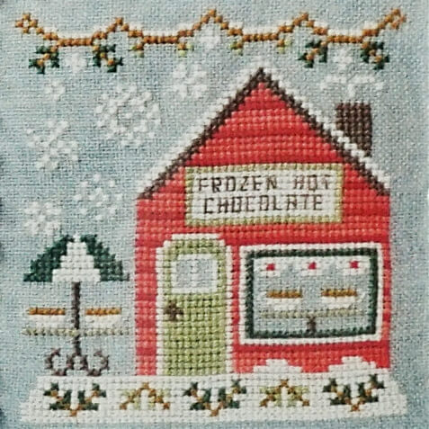 Frozen Hot Chocolate Shop counted cross stitch pattern
