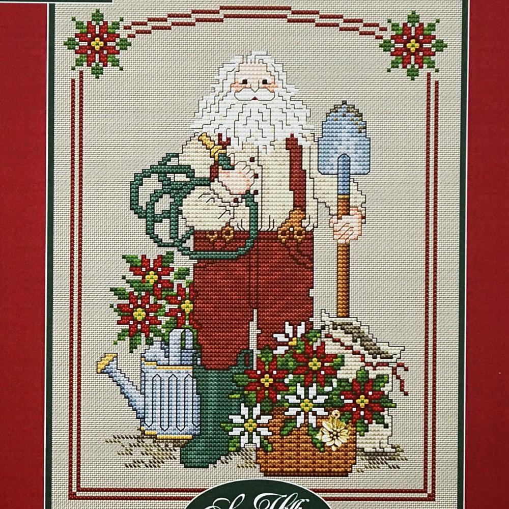 Poinsettia Santa counted cross stitch chart