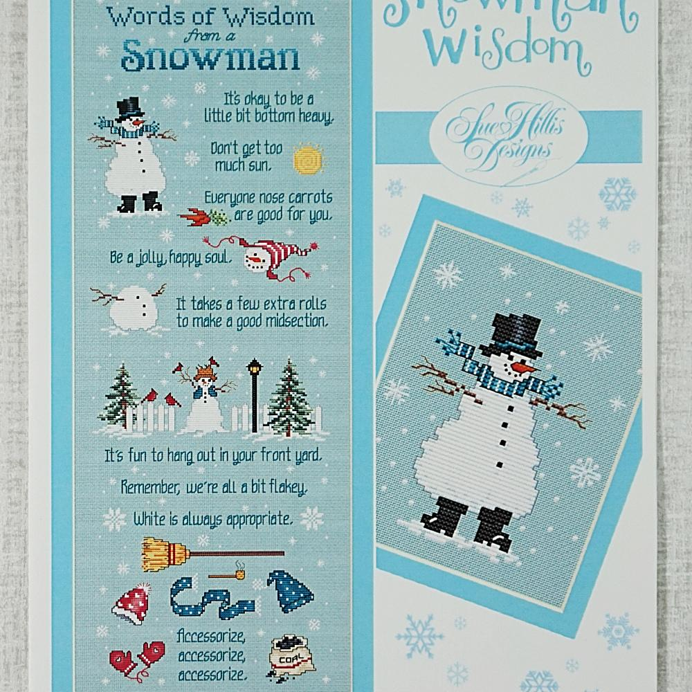 Snowman Wisdom counted cross stitch chart