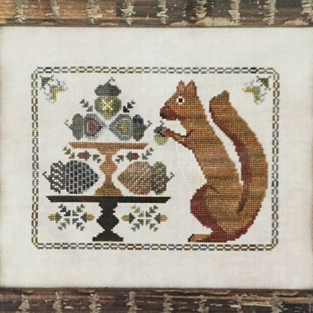 Autumn Squirrel counted cross stitch chart