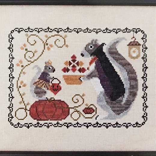 Halloween Squirrel counted cross stitch chart