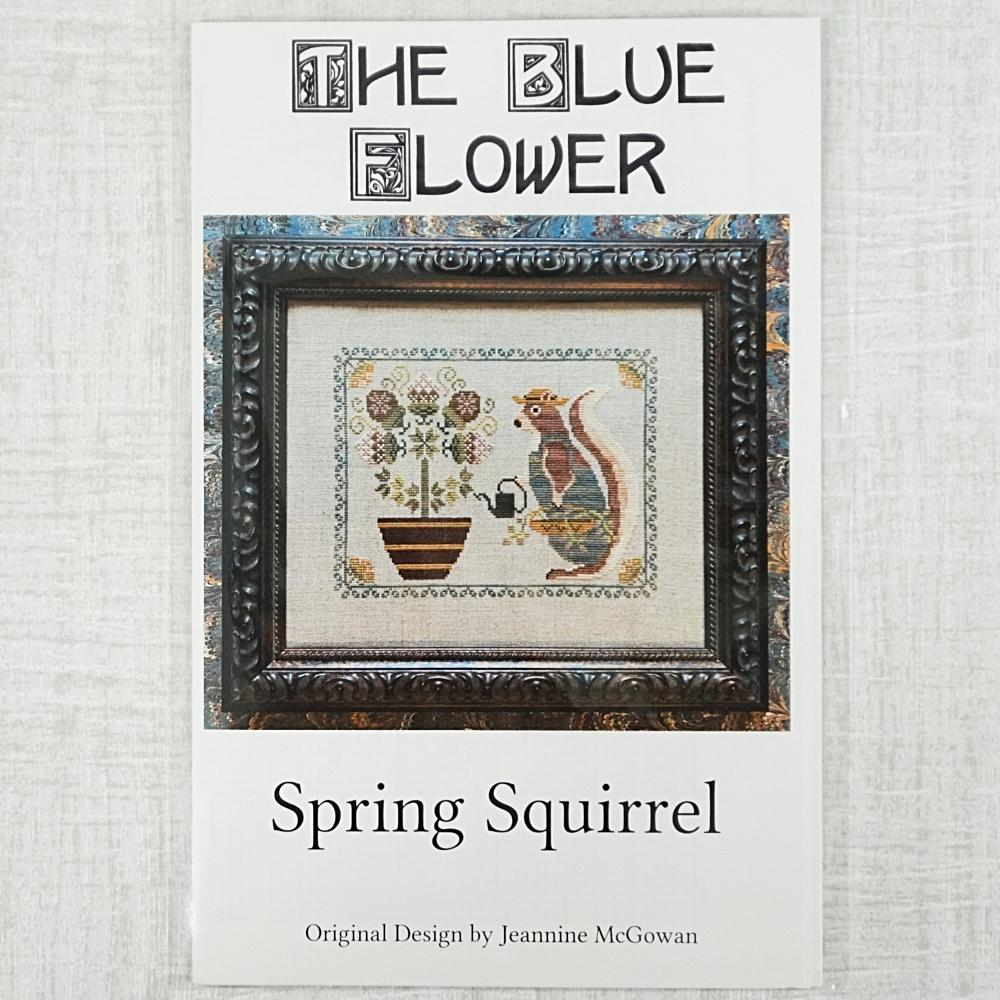 Spring Squirrel by the Blue Flower
