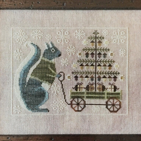 Winter Squirrel counted cross stitch chart