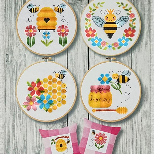 Bees and Honey counted cross stitch chart