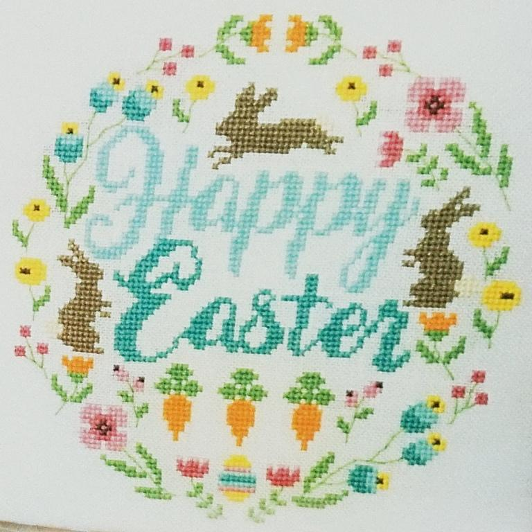 Easter Wreath counted cross stitch chart