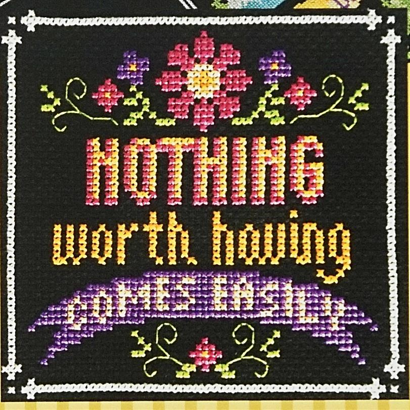 Nothing Worth Having counted cross stitch chart