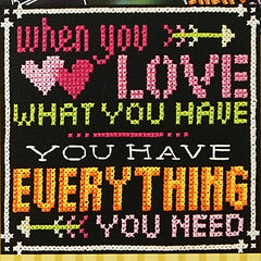 Words to Live By - Part 8: Love What You Have Cross Stitch Pattern | Tiny Modernist