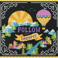 Words to Live By - Part 1: Follow Your Dreams Cross Stitch Pattern | Tiny Modernist
