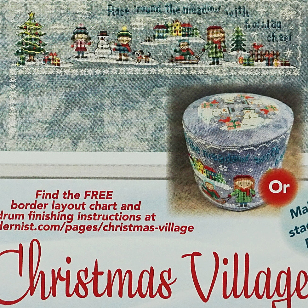 Christmas village race 'round the meadow counted cross stitch pattern
