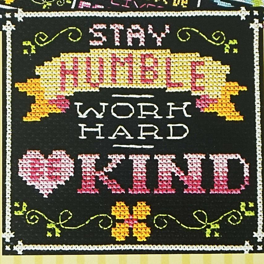 Words to live by be kind counted cross stitch pattern