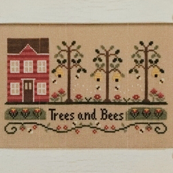 Trees and Bees counted cross stitch pattern