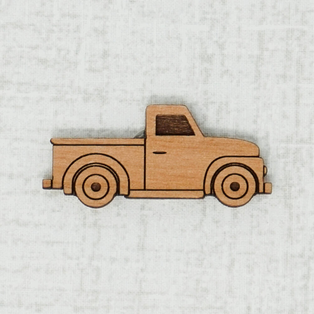 Truck alder wooden needle minder top view