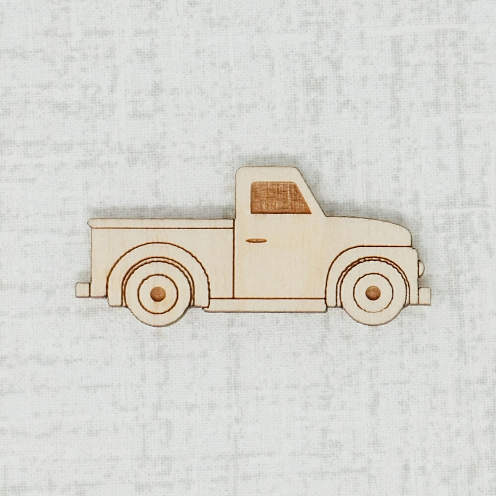 Truck birch wooden needle minder top view