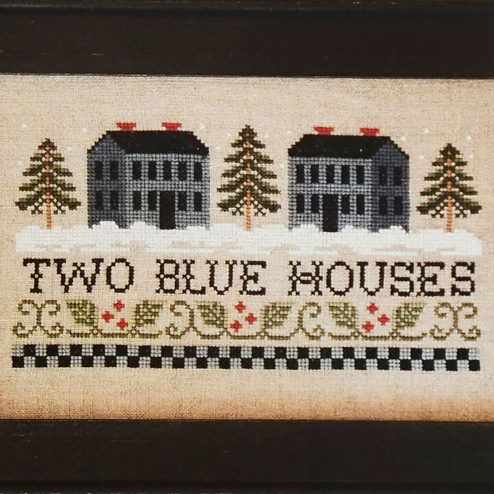 Two Blue Houses counted cross stitch pattern