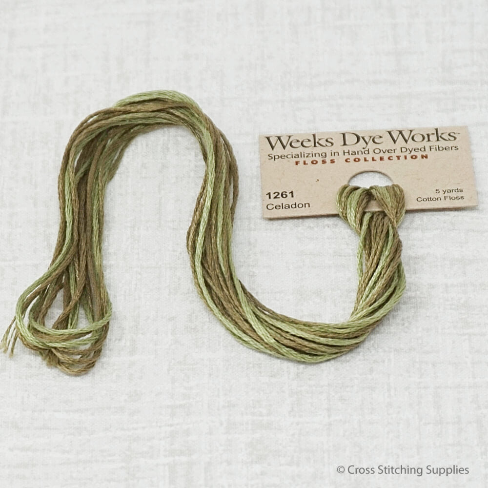 Celadon Weeks Dye Works overdyed floss