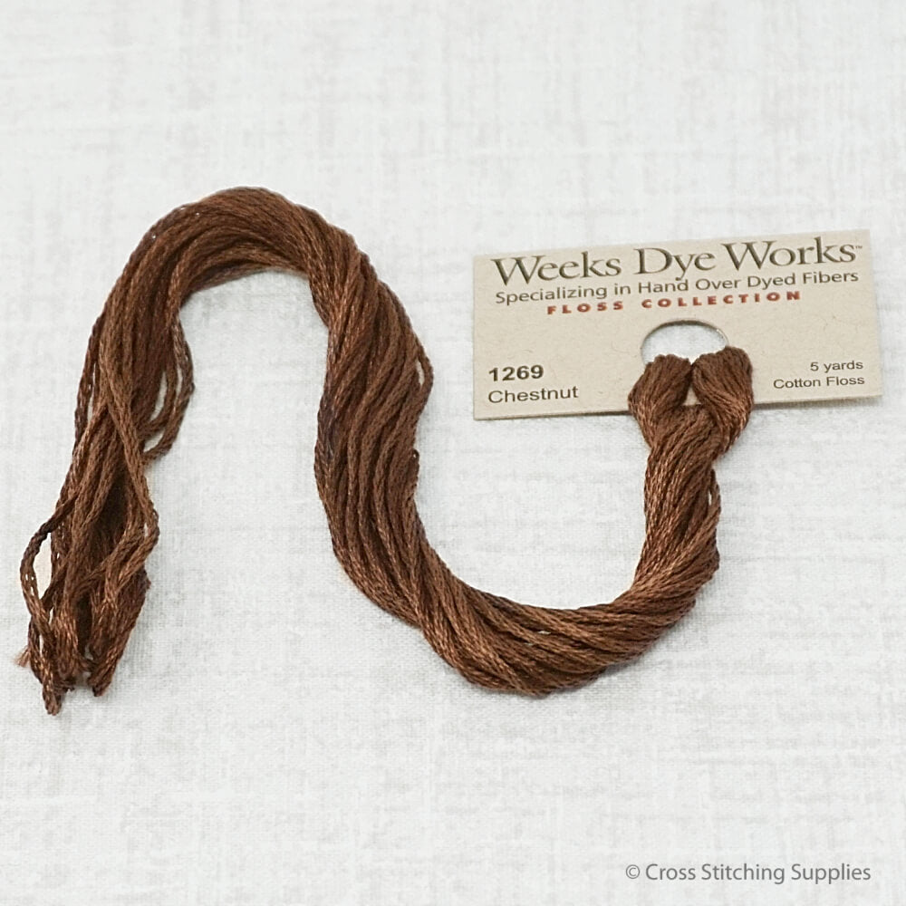 Chestnut Weeks Dye Works overdyed floss