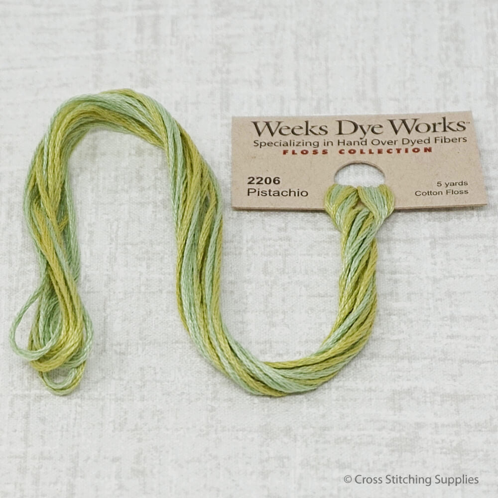 Pistachio Weeks Dye Works overdyed floss