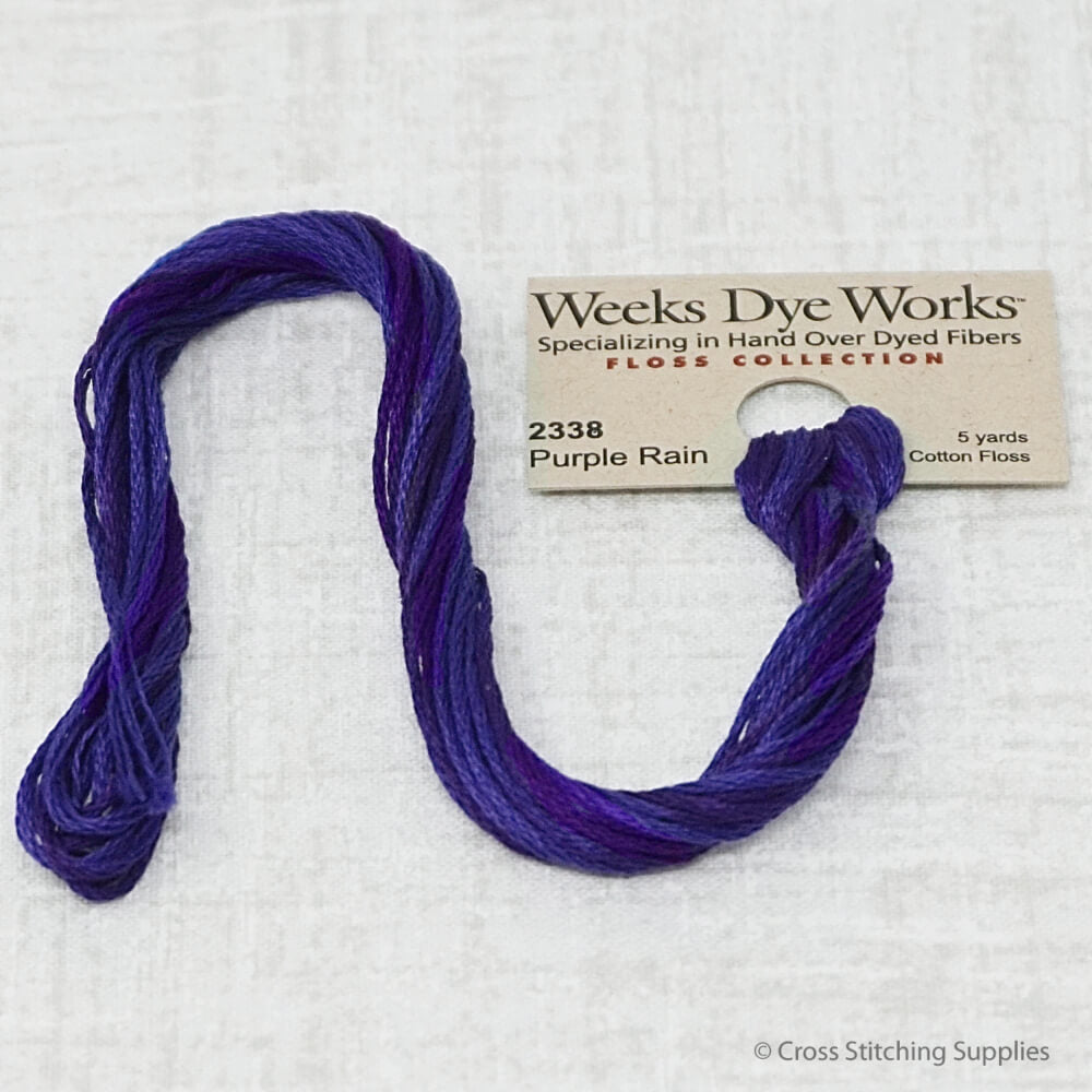 Purple Rain Weeks Dye Works overdyed floss
